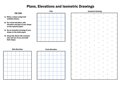 Plan Front Elevation Side Elevation Maths : Ks maths isometric and elevations worksheet by dcp
