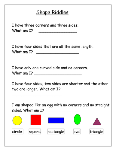 Shape Riddles Y12 By F1alonso Teaching Resources Tes