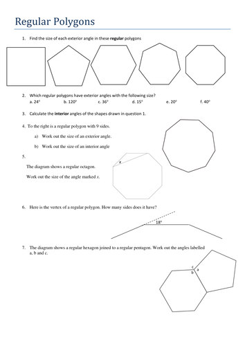 Ks4 Maths Angles In Regular Polygons Worksheet By Tristanjones Teaching Resources Tes
