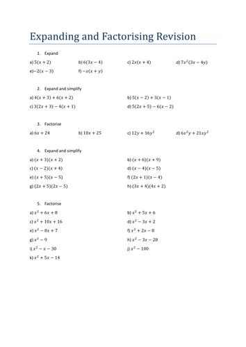 Worksheet Factorising Worksheet gcse revision booklets geometry measure by lwarwicker teaching resources tes