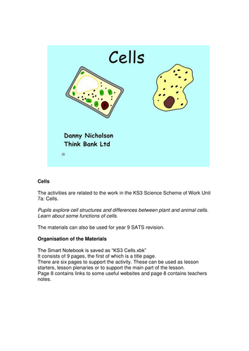 KS3 Cells Smartboard File