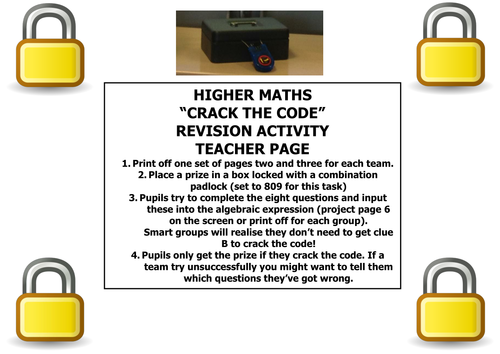 Higher Maths: Active Lesson Ideas