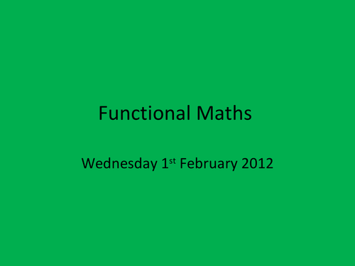 Funtional maths activity