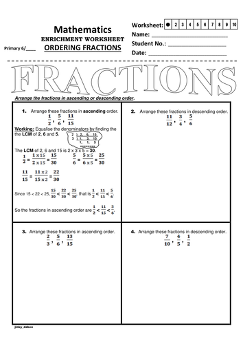 ordering fractions using the lcm method by jinkydabon  teaching  ordering fractions using the lcm method by jinkydabon  teaching resources   tes