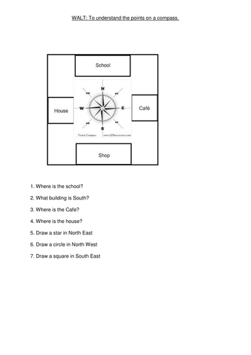 Compass points worksheets (differentiated)