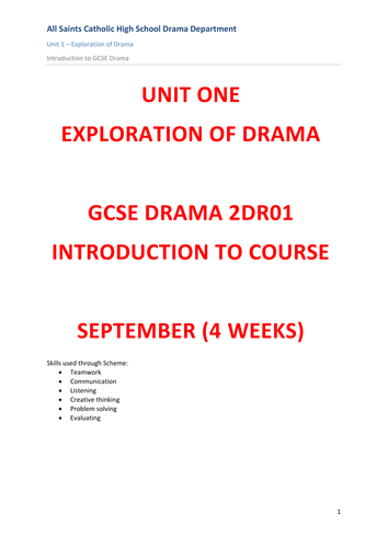 An introduction to skills for GCSE Drama