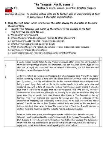 Detailed Worksheets for Directing Prosepero