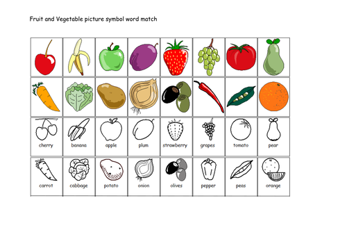 Fruit And Vegetable Picture Symbol Word Match By Lbrowne Teaching