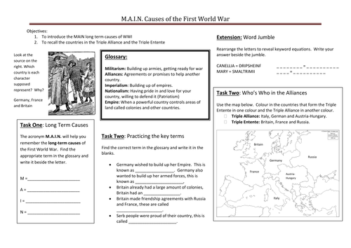 Printables Causes Of World War 1 Worksheet what were the m a i n causes of wwi by ccking teaching resources tes