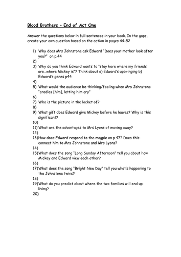 Blood Brothers Act 1 Questions Worksheet by MissRathor - Teaching ...