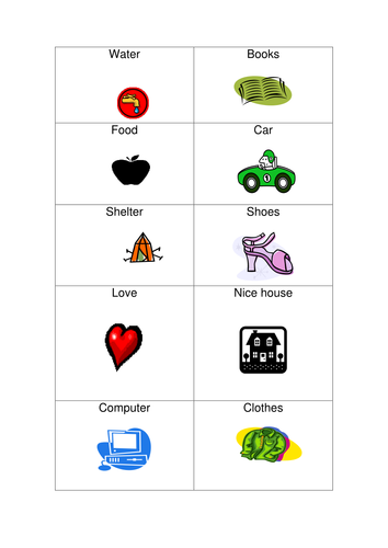 Number Names Worksheets wants and needs worksheets : Wants and needs card sort by ninawood1 - Teaching Resources - TES