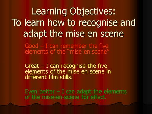 Film Studies, Mise-en-Scene: KS4 SEN Lesson 2