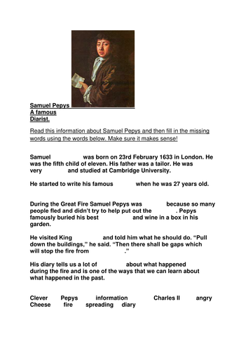 Information about Samuel Pepys