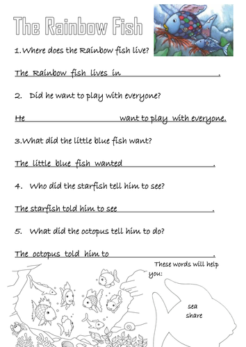 The rainbow fish activities by bo 54 teaching resources for Rainbow fish lesson plans