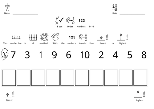 Ordering Numbers 1-10/20/50 (Widgit) by deb1 - Teaching Resources ...