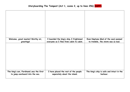 Storyboarding Act 1 Scene 2 of The Tempest