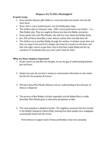 To Kill a Mockingbird Ch4-6 by Miss_s_k | Teaching Resources