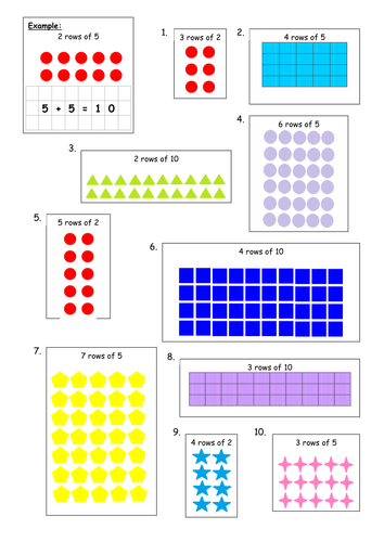Multiplication arrays 2x 5x 10x block e unit 1 by cfg4 for 10x table worksheets