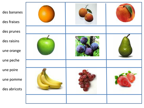 French - Fruits - Matching pics and vocab by mlapworth - Teaching ...