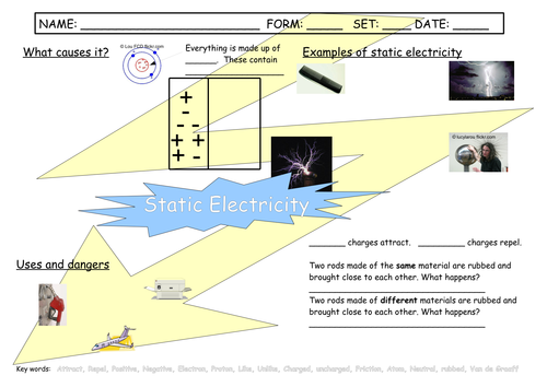 Static Electricity Worksheet by oldplumtree Teaching Resources TES – Static Electricity Worksheet
