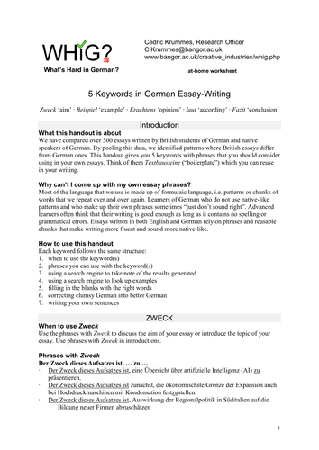 german essay writing