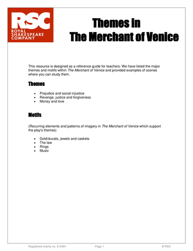 The Merchant of Venice RSC Themes Reference