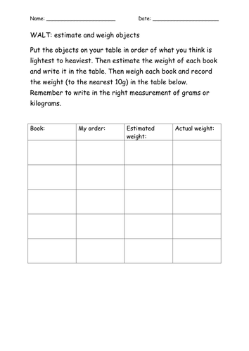weight estimation and ordering worksheet by tracey88 teaching resources. Black Bedroom Furniture Sets. Home Design Ideas