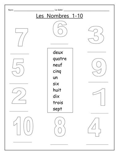 Les nombres 1 -10
