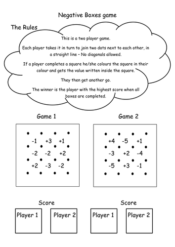 Negative number game (boxes) starter/plenary