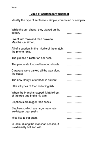 Types Of Sentences Worksheet By Missrathor Teaching Resources Tes