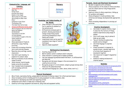Middle Term Planning : Animals early years medium term plan by carly teaching