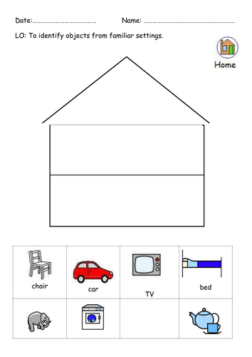 Identify objects from familiar settings - home