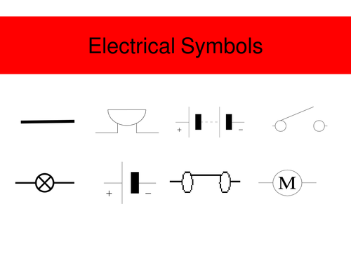 Electrical Tester Symbols : Electric circuit symbols by jimbob teaching resources