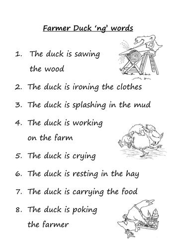 Farmer Duck 'ng' digraph words