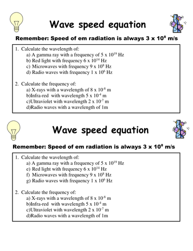 Worksheets Wave Speed Worksheet em waves calculations by kate m flynn teaching resources tes