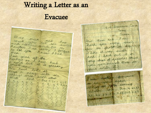 evacuee letter by myrtle teaching resources tes