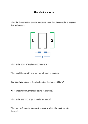 the electric motor worksheet by hanmphillips teaching resources. Black Bedroom Furniture Sets. Home Design Ideas