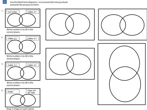 Venn Diagrams Worksheets by cathyve - Teaching Resources - Tes