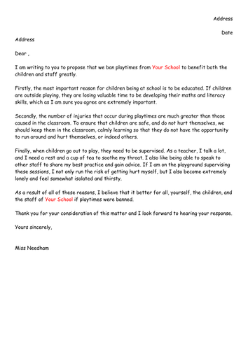 Draft letter of persuasion to ban playtimes by missn teaching draft letter of persuasion to ban playtimes by missn teaching resources tes spiritdancerdesigns Image collections