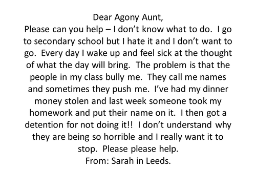 Agony Aunt letter writing by sjb1987 - Teaching Resources - Tes