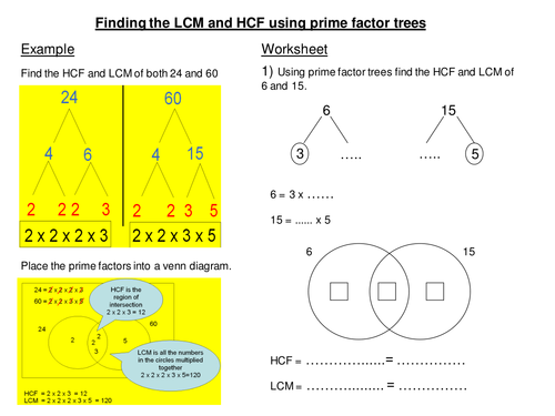 LCM and HCF from factor trees scaffold worksheet