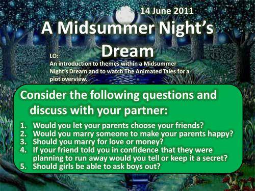 A Midsummer Night's Dream Intro Lesson Shakespeare