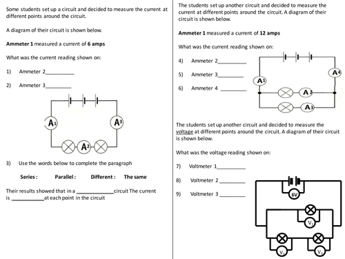 Current + Voltage in circuits questions worksheet