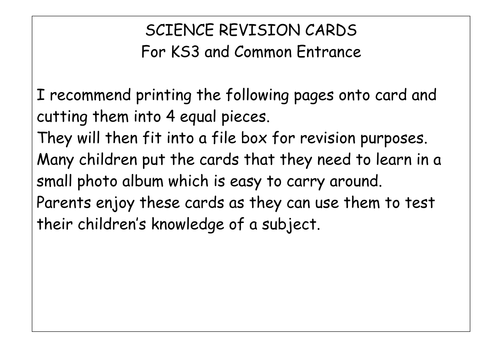 Revision aid for ks3 or common entrance science revision aid for ks3 or common entrance science by mpassmore teaching resources tes publicscrutiny Gallery
