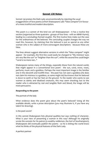 Sonnet 130 Worksheet by MissRathor - Teaching Resources - Tes