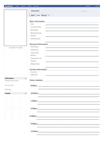 FaceBook Page Template Character Analysis by MissRathor - Teaching ...