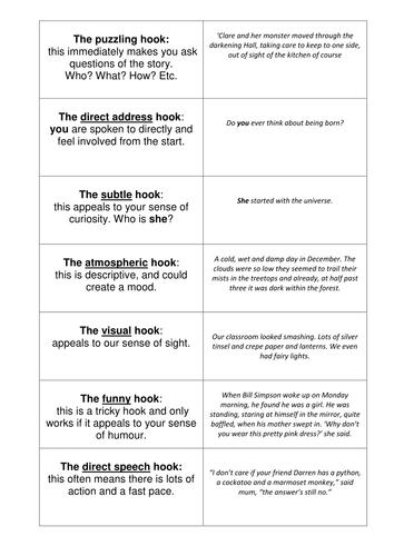 Essay Hooks Worksheet