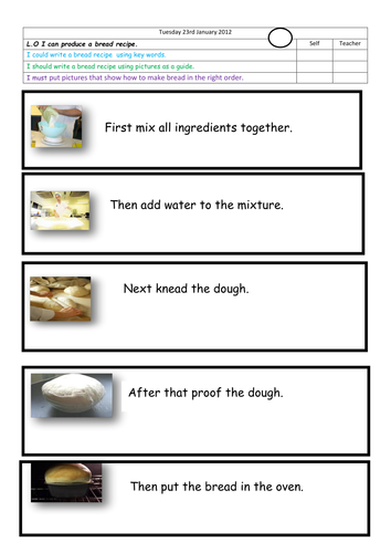 instructions to order how to make bread by landoflearning teaching resources tes. Black Bedroom Furniture Sets. Home Design Ideas