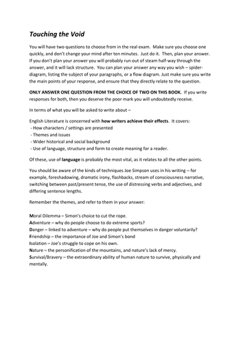 Written Essay Papers Touching The Void Study Guide Reflective Essay Thesis also Critical Analysis Essay Example Paper Touching The Void  Study  Revision Pack By Tesenglish  Teaching  How To Write A Thesis For A Persuasive Essay
