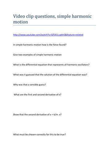 Simple Harmonic Motion: Video Clip Worksheet